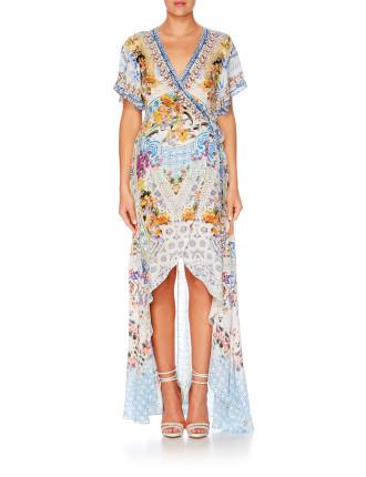 CAMILLA Girl Next Door Wrap Dress W/ High Low Hem