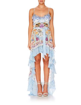 CAMILLA Girl Next Door High Low Button Down Dress
