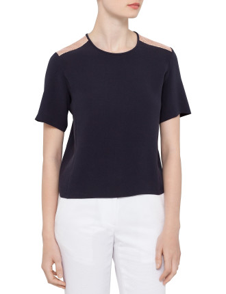 G&S Incision Silk Top With Shoulder Detail