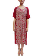 Short Sleeved Spiral Shibori V-Neck Dress With Tuck $689.00
