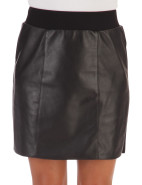 LEATHER AND PONTI SKIRT $299.00