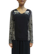 Panel Long Sleeve Top With Embroidery $549.00