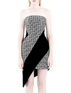 Strapless Diagonal Tribal Dress $445.00