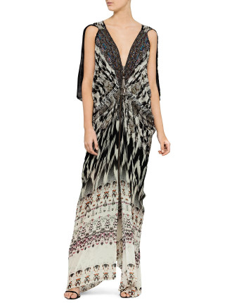 Long Drape Dress W/ Zip Front