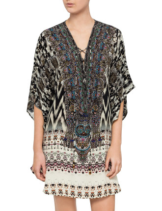 Short Round Lace Up Kaftan