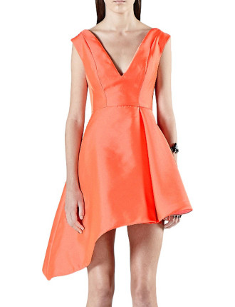 Diagonal Hem V Dress