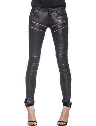 Slim Leather Zip Pant