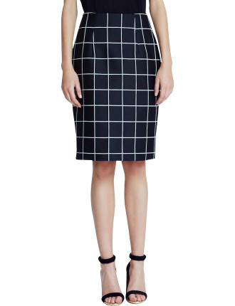 halter grid pencil skirt