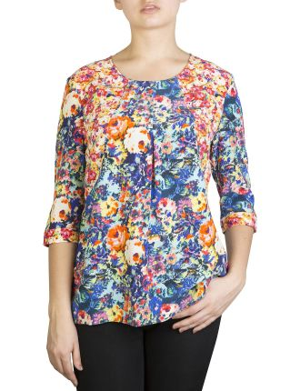 ainsley patched crepe top