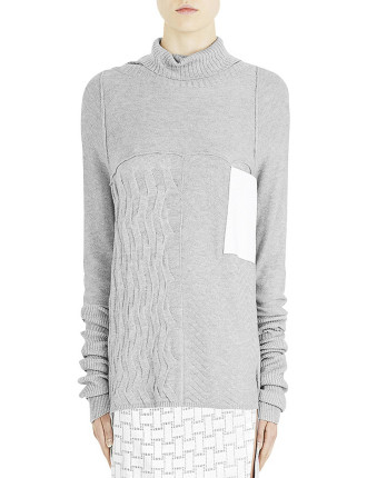 Texture Play Long Line Turtle Neck