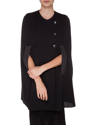 Poncho With Leather Trim