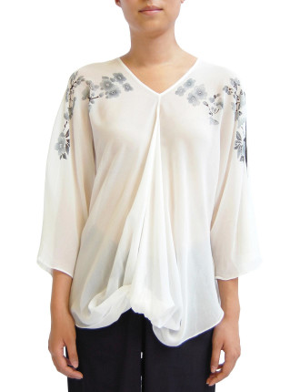 Hand Painted V Neck Top With Twist Hem