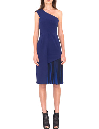 One Shoulder Pleated Accent Dress