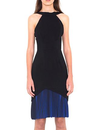 Pleated Hem Halter Dress