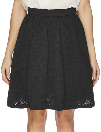 Cotton Check And Lace Skirt