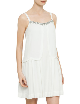 Crepe Scallops And Beads Strap Dress