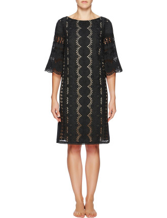 Rococco Embroidered Bell Sleeve Dress