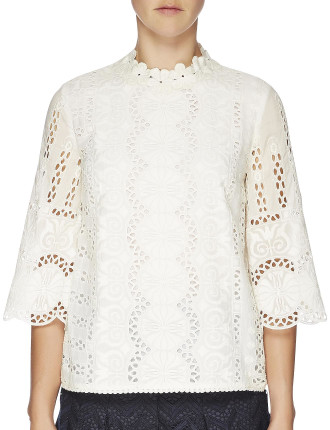 Rococco Embroidered Bell Sleeve Top
