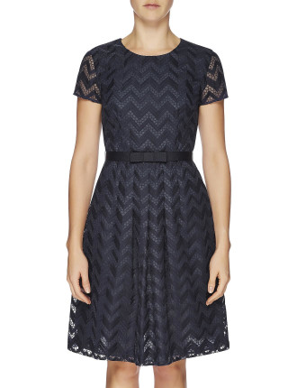 Zig Zag Embroidery Cap Sleeve Dress