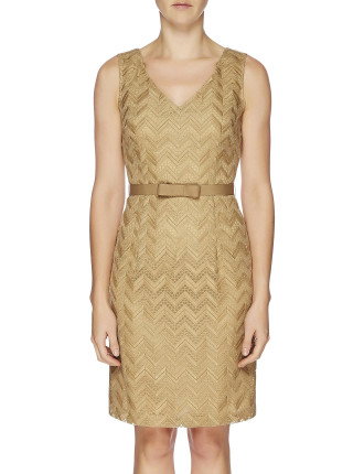 Zig Zag Emb Sleeveless Fitted Dress