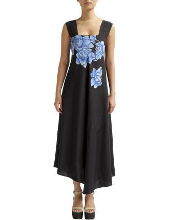 Hand Painted Peony Strap Dress
