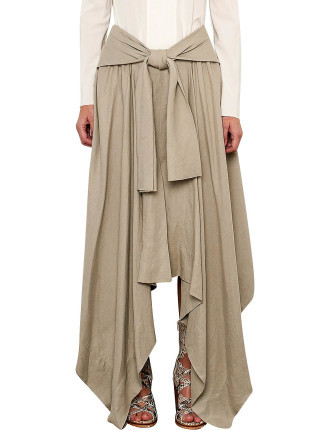 Rectangle Tie Front Angle Skirt