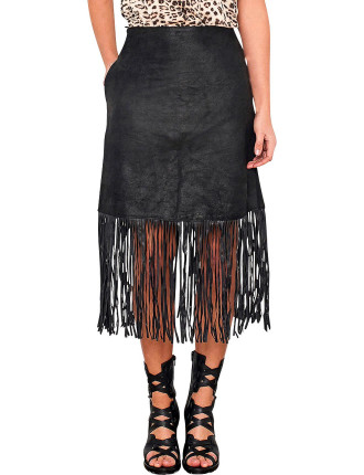 Chromium Free Stretch Leather Skirt With Fringing