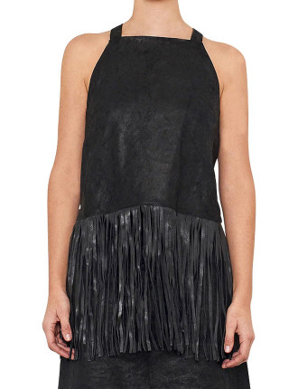 Chromium Free Stretch Leather Top With Fringing