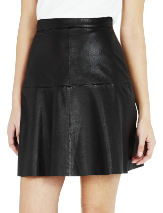Mode Fit And Flare Leather Skirt