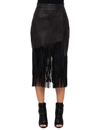 Mode Fringe Leather Skirt