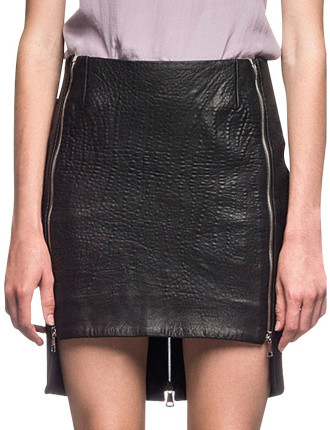 Leather Zip Track Skirt