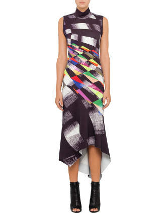 Geometric Abstraction Sleeveless Dress