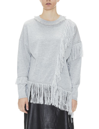Crew Neck Knit With Tassels