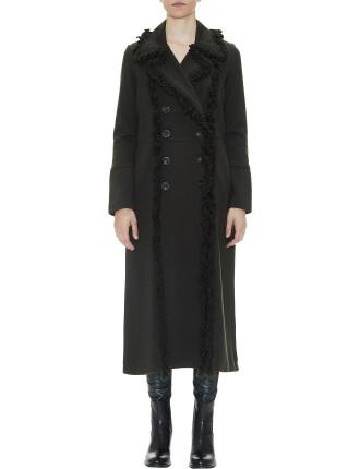 Longline Panelled Coat With Fringe