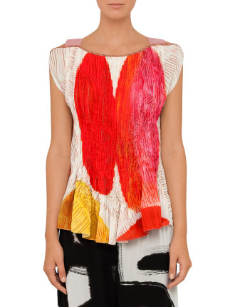 Pleated Printed Strap Top
