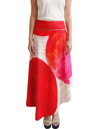 Printed Panelled Skirt