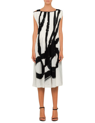 Hand Painted Pleated Strap Dress With Slip