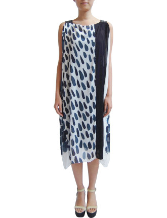 Hand Painted Rectangular Strap Dress With Slip