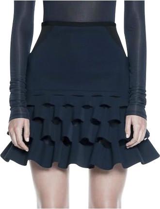 Slash Ruffle Mini Skirt