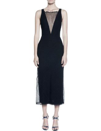 Circular Lace Plunge Dress
