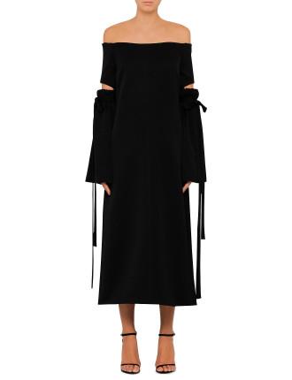 Claude Décolletage Gather Sleeve Dress