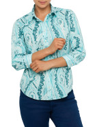 Three Quarter Sleeve Stretch Paisley Shirt $169.00