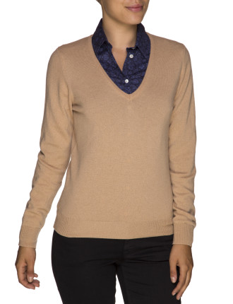 Lambswool/Cashmere V-Neck