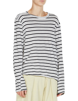 Stripe French Seam Long Sleeve Tee With Tail