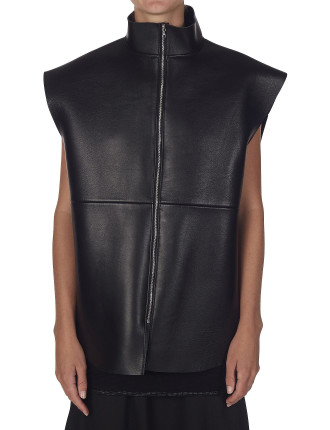 Oversized Bonded Leather Vest