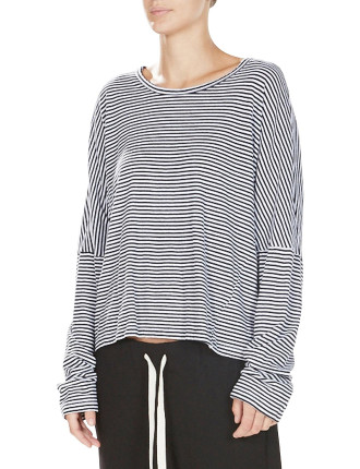 Stripe Drop Shoulder Long Sleeve Tee
