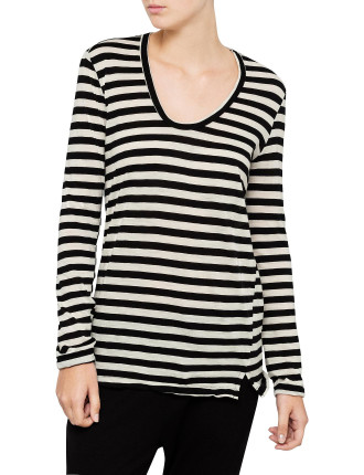 Wool Jersey Deep V Long Sleeve Tee