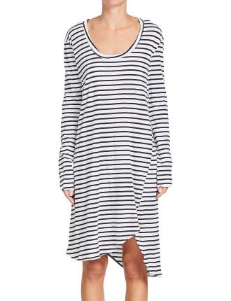 Stripe L/S Boxy T.Shirt Dress