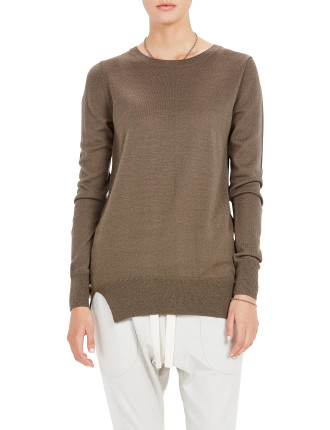 Wool Cashmere Crew Neck Knit