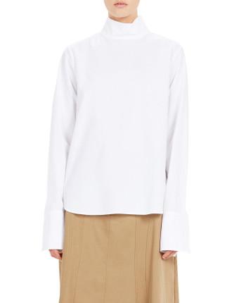 Compact Cotton Funnel Neck Shirt